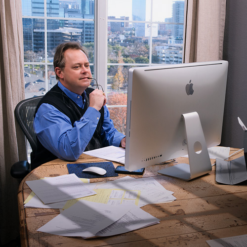 Photo of Jeff Kessel auditing from his home office in Dallas, Texas